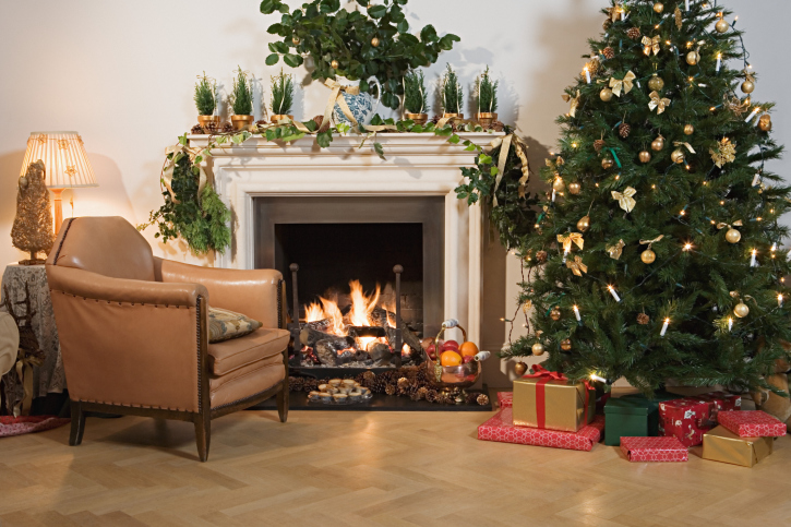 Festively decorated living room