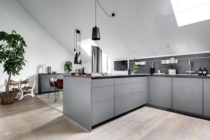 apartamento en gris cocina